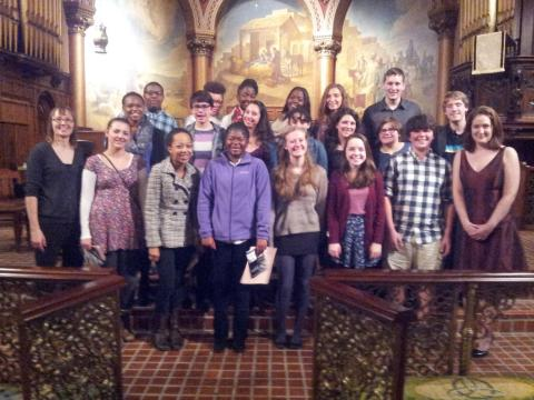 Cheltenham Choir students and Ms. Hutton with Megan Machnik, Executive Director of TPS, after the concert at Church of the Holy Trinity