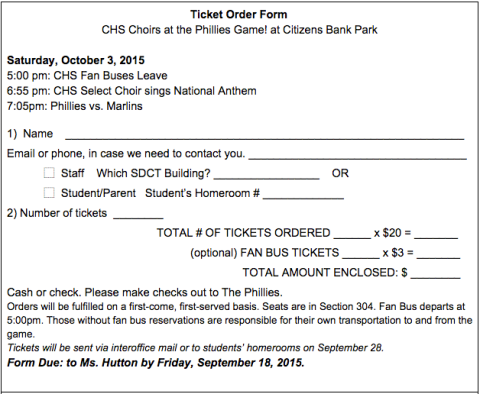 Phillies ticket order form single