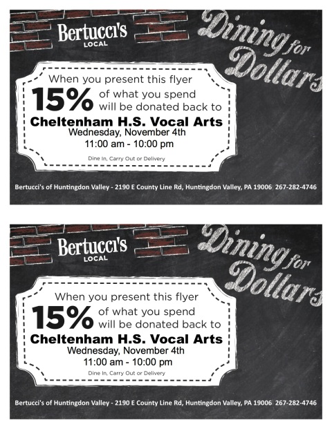 Bertucci's Restaurant Night Flyer Nov 2015