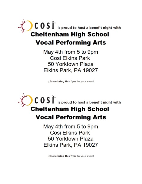 Cheltenham High School  Vocal Performing Arts Boosters #144 5-4-16-2