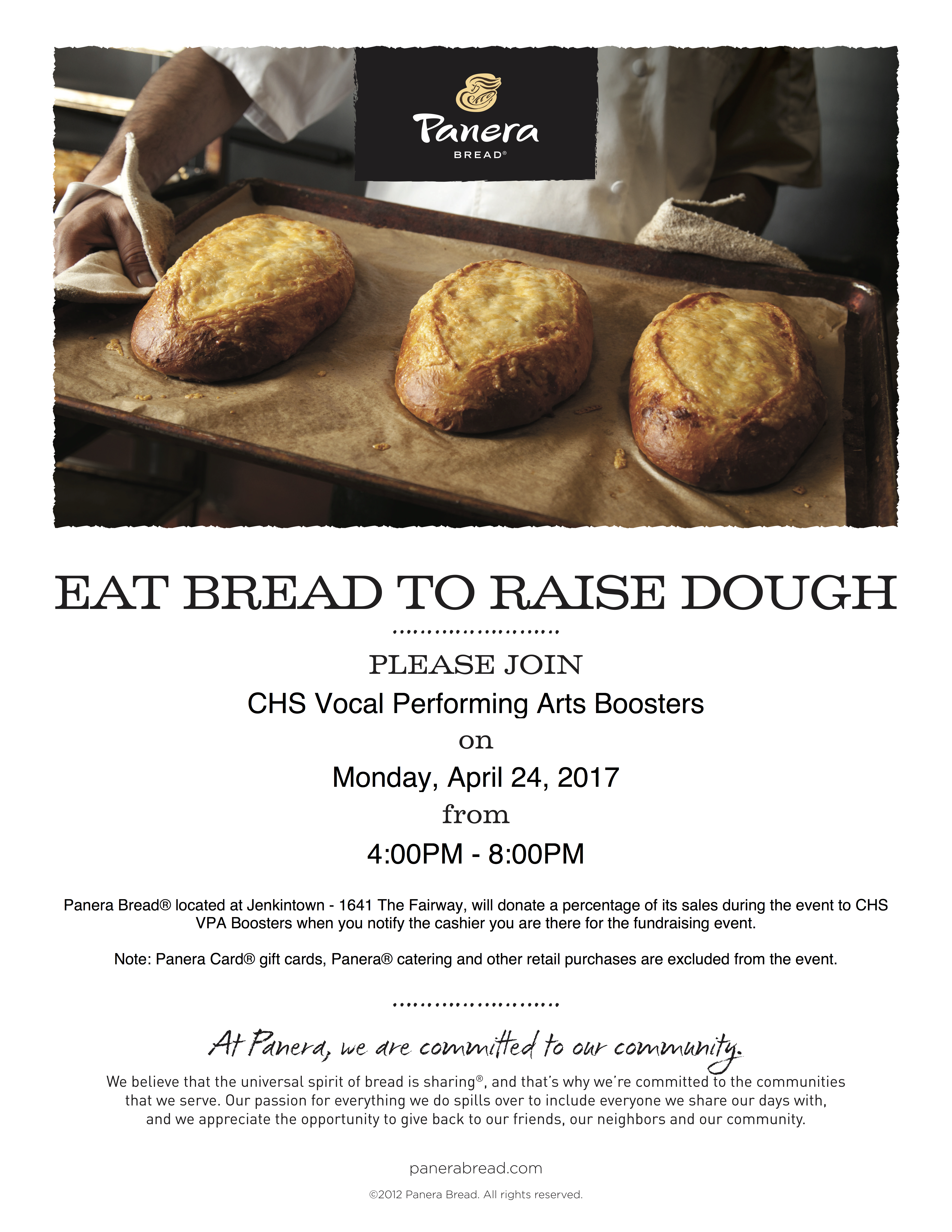 Panera Restaurant Night Monday, April 24 | Cheltenham High School Choirs